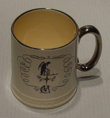 Ceramic tankard with print of weather vane at Lords cricket ground