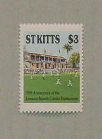 """Stamp, issued by Saint Kitts - """"75th Anniversary of the Leeward Islands Cricket Tournament"""""""