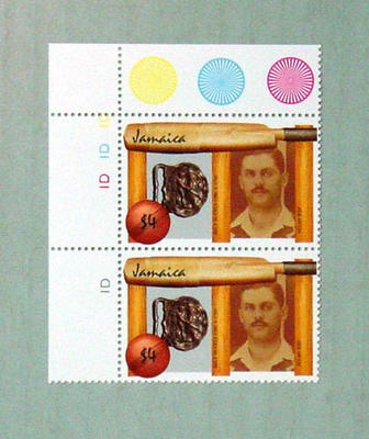 Stamp, issued by Jamaica - features image of Allan Rae