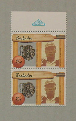 Stamp, issued by Barbados - features image of Manny Martindale