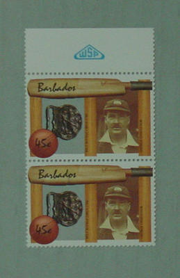 Stamp, issued by Barbados - features image of George Challenor