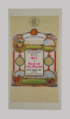 Cricket scorecard - Bicentenary Match MCC v Rest of the World 20-25 August 1987 at Lord's Cricket Ground