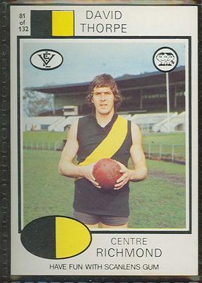 1975 Scanlens VFL Football David Thorpe trade card