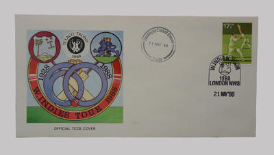 First day cover, West Indies cricket tour of England - Texaco Trophy, 21 May 1988; Philatelics and currency; Documents and books; M5499