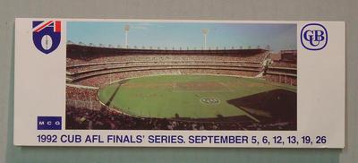 Ticket folder, AFL 1992 Final Series