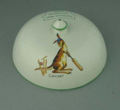 """Lid with image of kangaroo batting, """"The Allen West Children's Xmas Party 1929"""""""