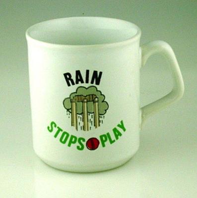 "Mug, ""Rain Stops Play"""