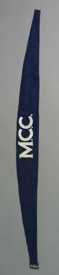 Navy blue cotton band with buckle - M.C.C. (Melbourne Cricket Club).