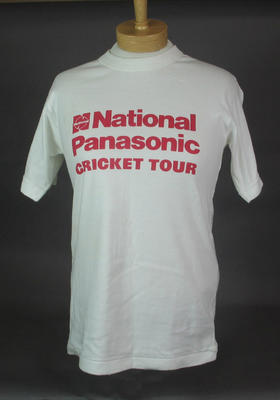 T-shirt - white with 'National Panasonic Cricket Tour' in red on front