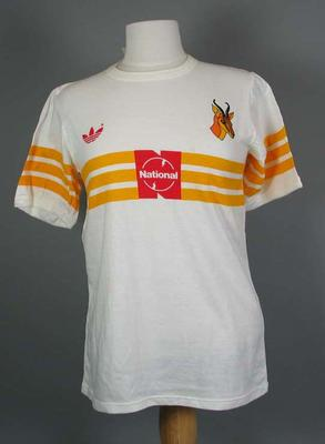 T-shirt - white with red 'Adidas' and 'National' logos on the front