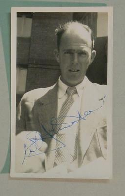 Black and white autographed  photograph of Australian Cricketer William Johnston.