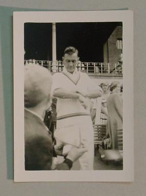Black and white photograph of English Cricketer Alec Bedser.