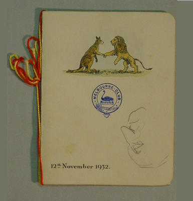 Menu with sketches by Arthur Mailey - Melbourne Club, 12 November 1932