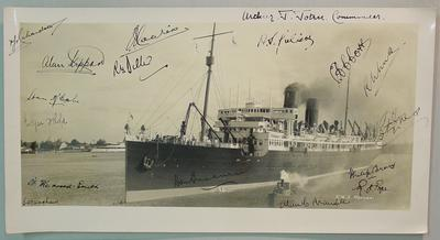 Photograph of ship 'R.M.S. Monowai' with autographs by 1932 Australian Cricket Tour to Canada & USA