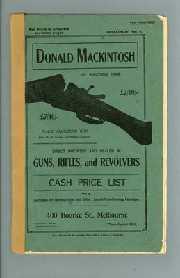 Catalogue for Donald Mackintosh's gun shop, c1913