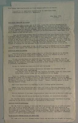 "Typed pages - ""Brief notes regarding goodwill and trade between Australia and Canada"" - prepared by L.R. Macgregor, 29 June 1932, Australian Commissioner for Trade, Canada"