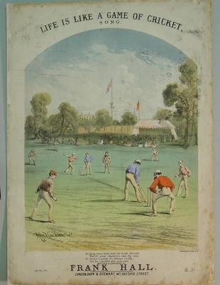 """Sheet music booklet, """"Life is like a game of cricket"""""""