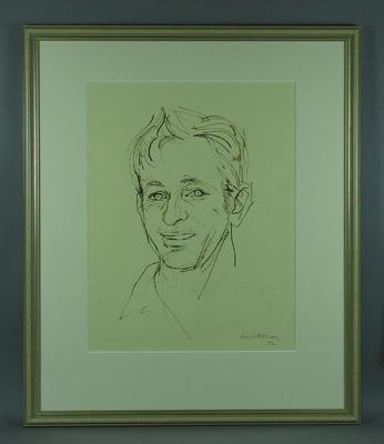 Original framed sketch of Rod  Laver signed by artist Louis Kahan 1972