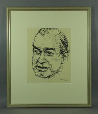Original framed sketch of Harry Hopman signed by artist Louis Kahan 1960-70; Artwork; Framed; 1993.2860.11