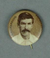 Badge with image of Thomas Richardson, c1897