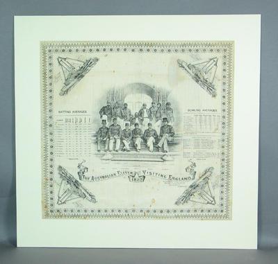 Handkerchief with image of Australian cricket team, 1882
