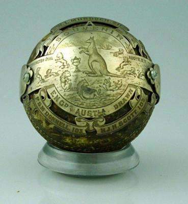 Souvenir cricket ball of England v Australia cricket match, August 1884; Sporting equipment; M2974