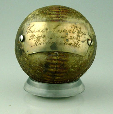 Souvenir cricket ball from Sussex v Australia cricket game, May 1882