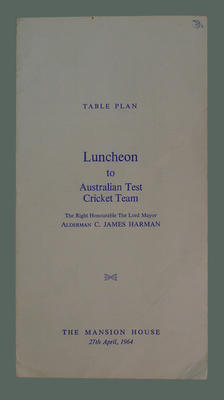 Table plan for lunch given by the Lord Mayor of London for Australian cricket team, 27 April 1964