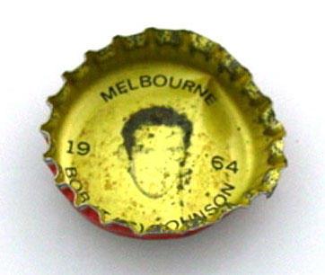 Bottle cap with image of Bob Johnson, 1964