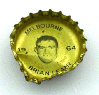 Bottle cap with image of Brian Leahy, 1964