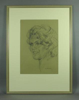 Original framed sketch of Evonne Goolagong Cawley signed by artist Louis Kahan 1972