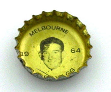 Bottle cap with image of Barry Vagg, 1964