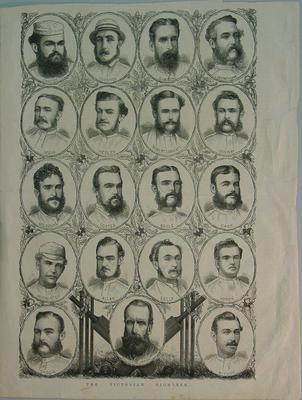 Newspaper clipping, Victorian cricket team 1874