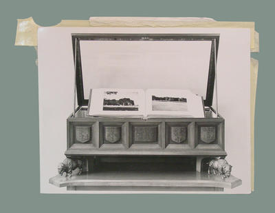 Photograph of wooden chest, Marylebone Cricket Club Museum