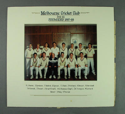 Photograph of Melbourne Cricket Club 3rd XI, Premiers 1987-88; Photography; M2423.1