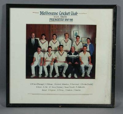 Photograph of Melbourne Cricket Club VCA Colts, Premiers 1987-88
