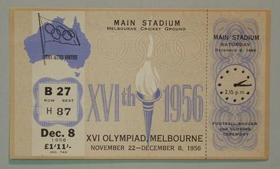 1956 Olympic Games Closing Ceremony ticket
