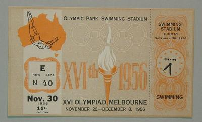 1956 Olympic Games swimming events ticket, 30 Nov