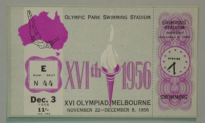 1956 Olympic Games swimming events ticket, 3 Dec