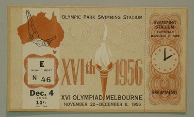 1956 Olympic Games swimming events ticket, 4 Dec