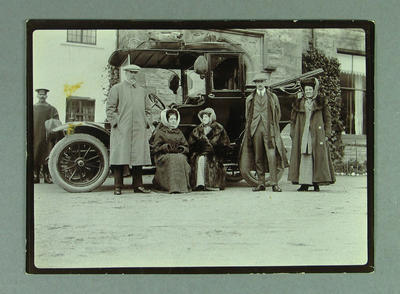 Photograph of Australian cricket team on motor tour of Scotland, 1909