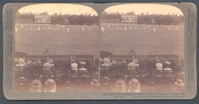Stereogram photograph taken during England v Australia match at MCG, 1908