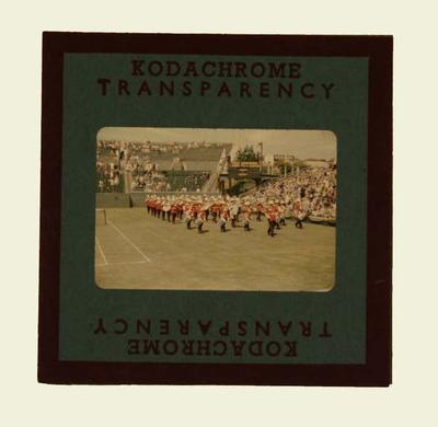 Slide, depicts Military Band playing on Kooyong Centre Court - 1954
