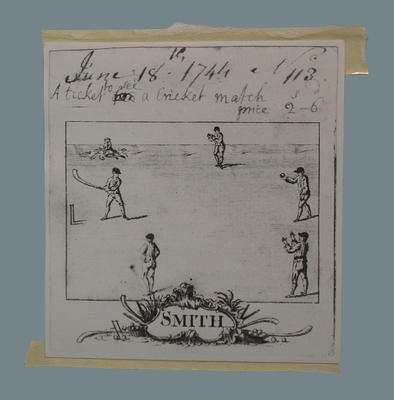 """Photograph of a drawing, """"Smith June 18 1744, No. 113 A Ticket to see a cricket match"""""""