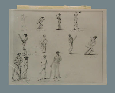 Photograph of pen drawings, depicting various cricket players
