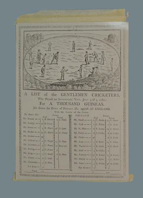"""Photograph of print, """"A list of the Gentlemen Cricketers, who played on Sevenoaks Vine""""; Photography; M2368"""