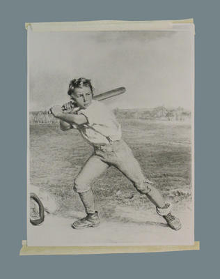 Photograph of a watercolour, depicts a young boy playing cricket