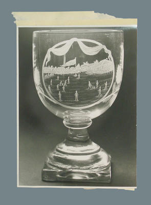 Photograph of glass goblet, commemorates Grand Jubilee Match - 1837