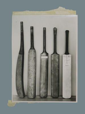 Photograph of cricket bats, undated