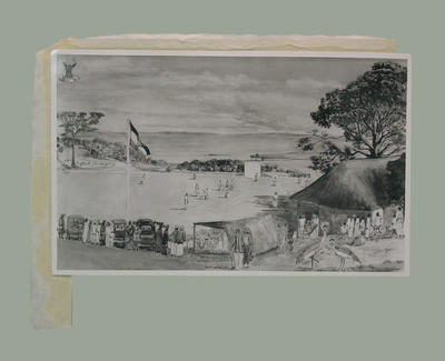Photograph of a watercolour painting, depicting cricket match at Entebbe